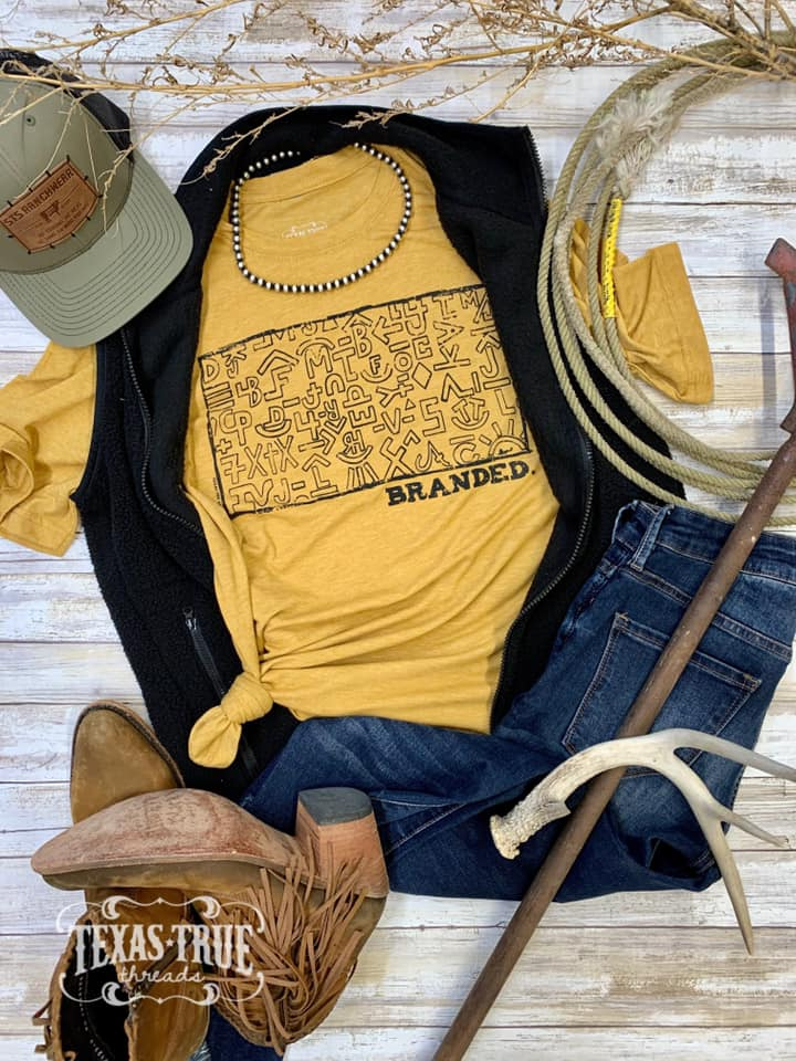 {BRANDED} Cattle Brands Antique Gold Crew Neck Tee
