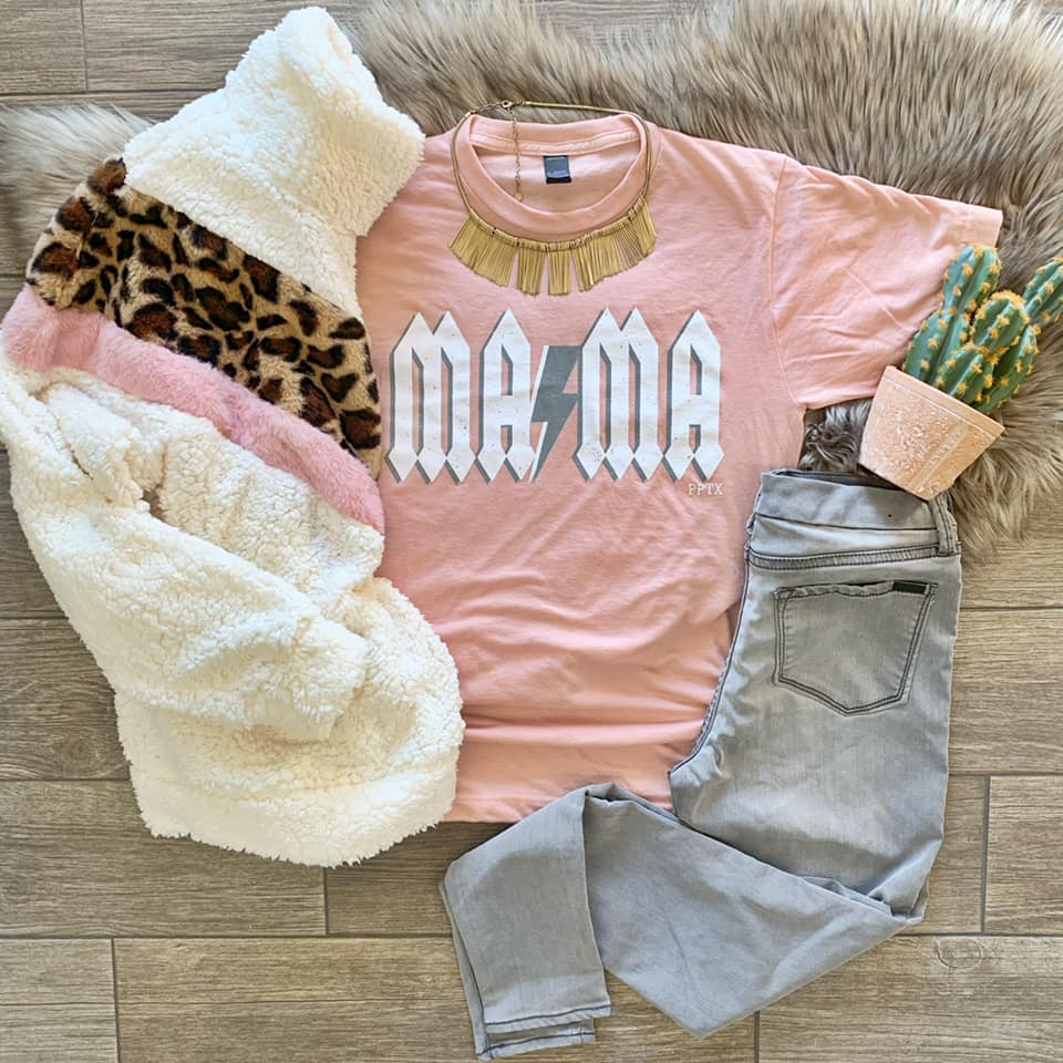 {ROCKSTAR MAMA} Heather Peach Crew Neck Tee