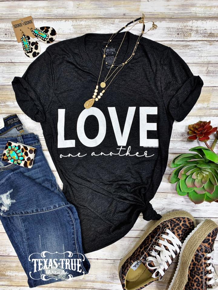 {LOVE ONE ANOTHER} Char-Black V-Neck Tee