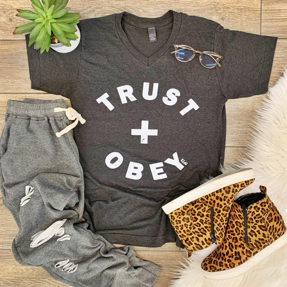 {TRUST + OBEY} Graphite V-Neck Tee