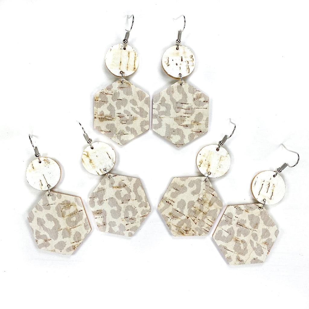 """CHIC NEUTRAL LEOPARD"" Mix + Match Hexagon Leather Earrings"