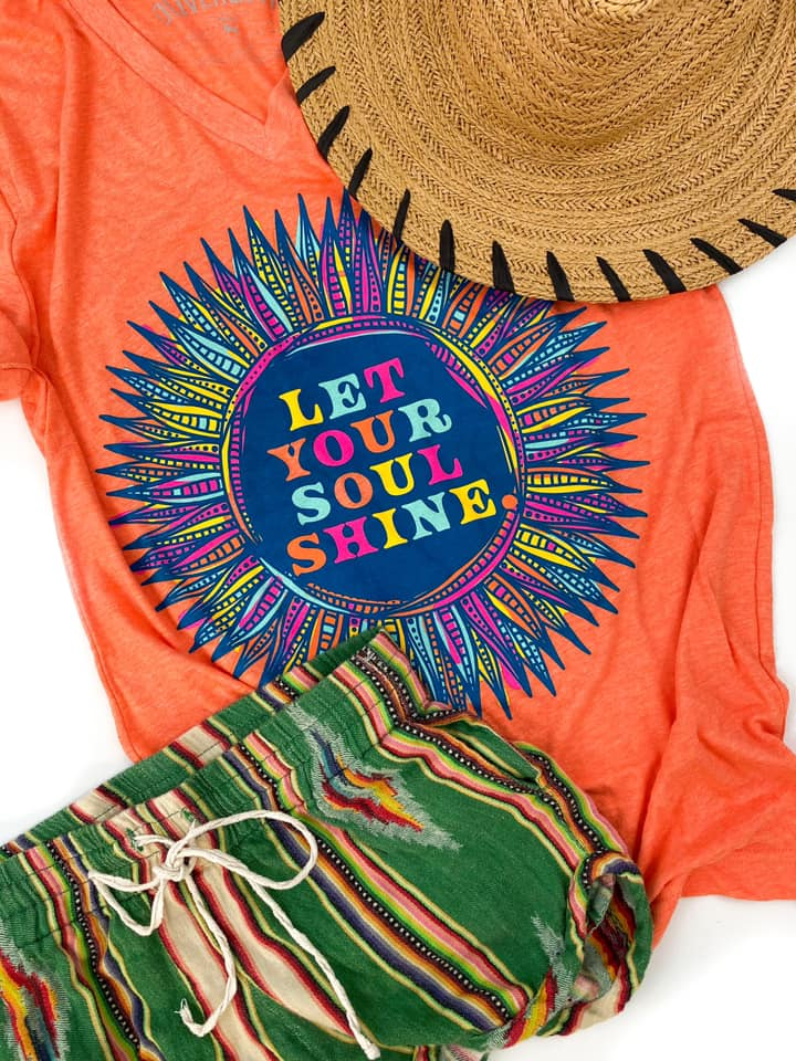 {LET YOUR SOUL SHINE} Vibrant Flower Orange V-Neck Tee
