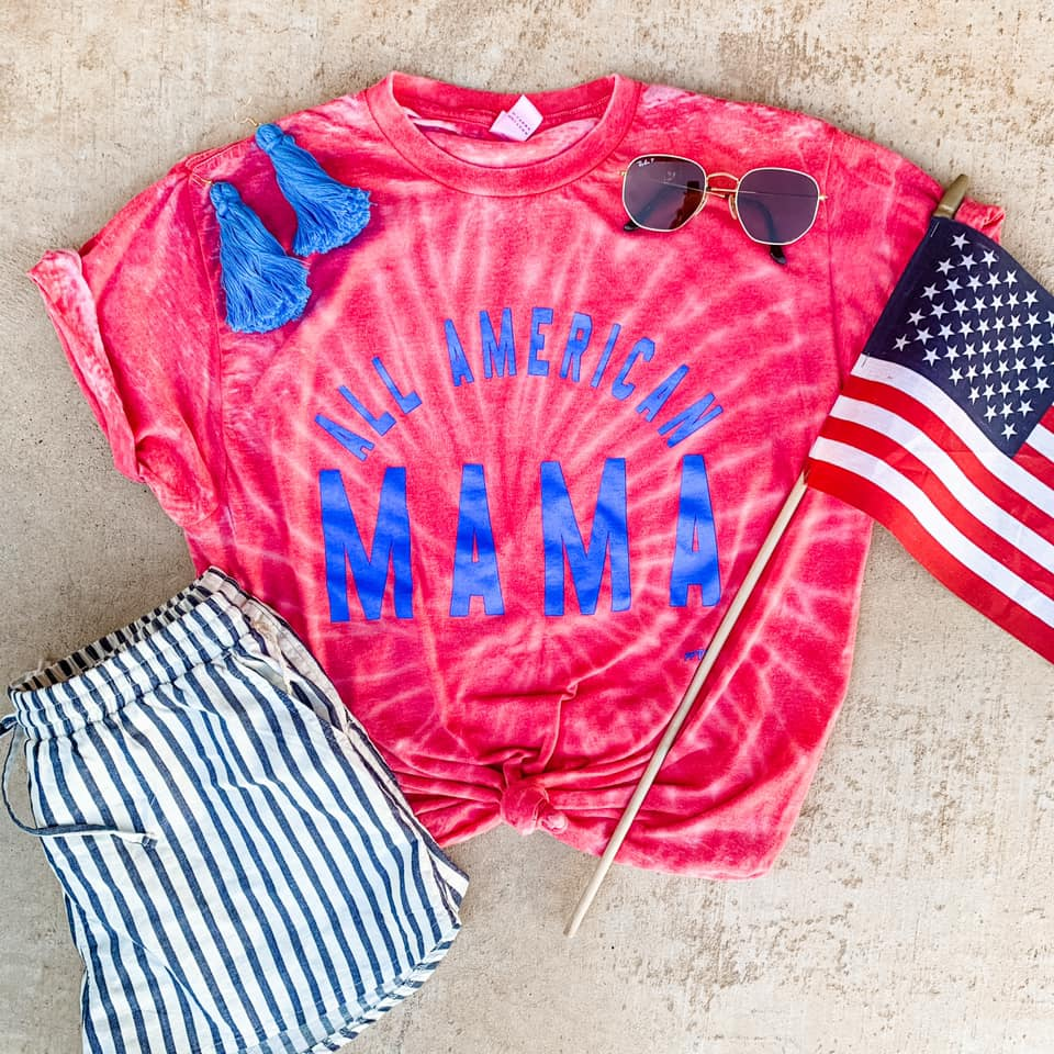 {ALL AMERICAN MAMA} Tie Dye Acid Wash Patriotic Crew Neck Tee