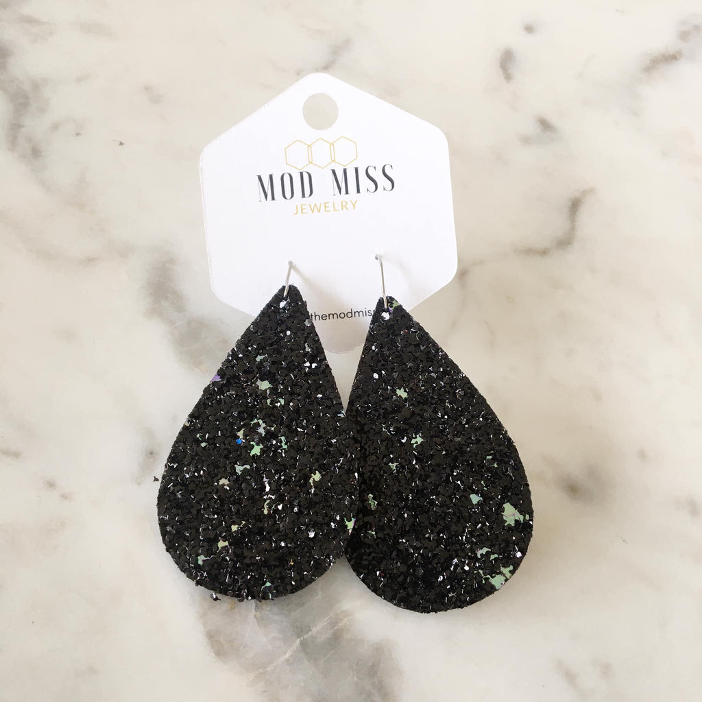 """Tate"" Black Glitter Chunky Teardrop Earrings"