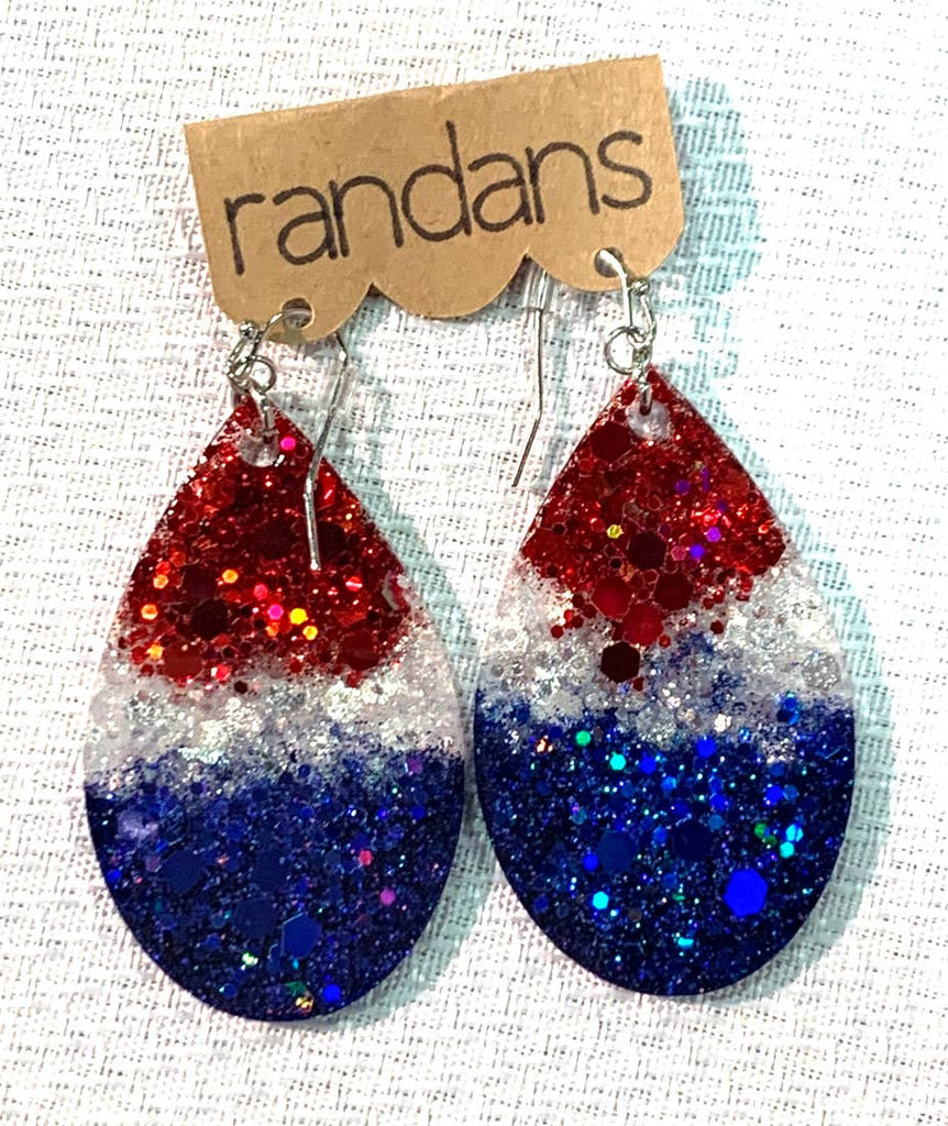 """1776"" Red, White + Blue Patriotic Ombre Glitter Handcrafted Resin Earrings"