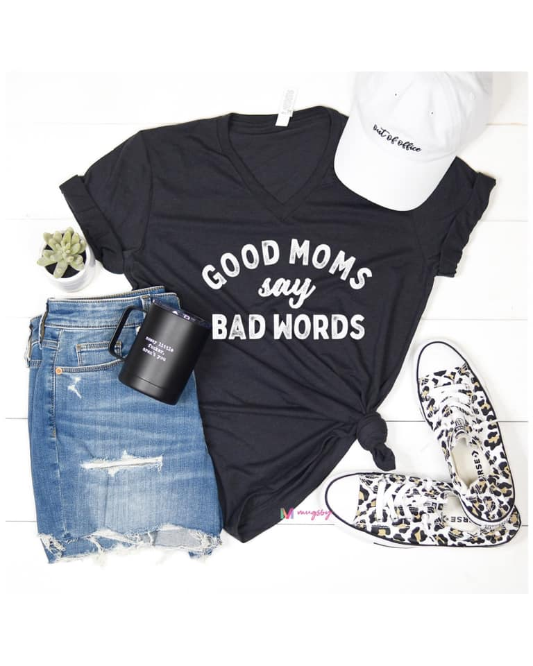 {GOOD MOMS SAY BAD WORDS} Charcoal V-Neck Tee