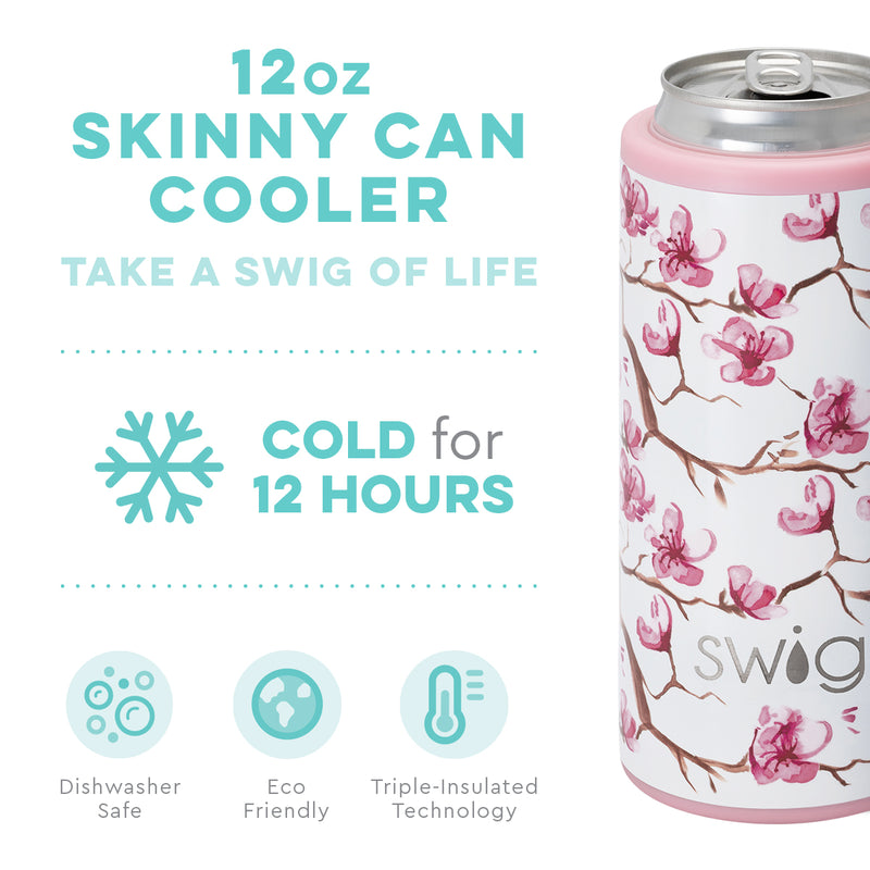 SWIG {CHERRY BLOSSOM} Skinny Insulated Stainless Steel Can Cooler (12 oz.)