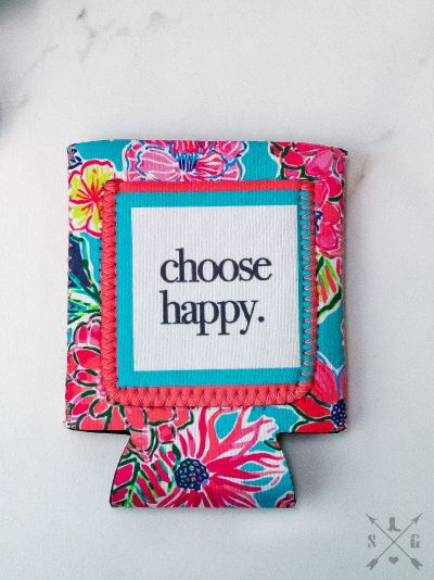 Choose Happy FLORAL Can Cooler
