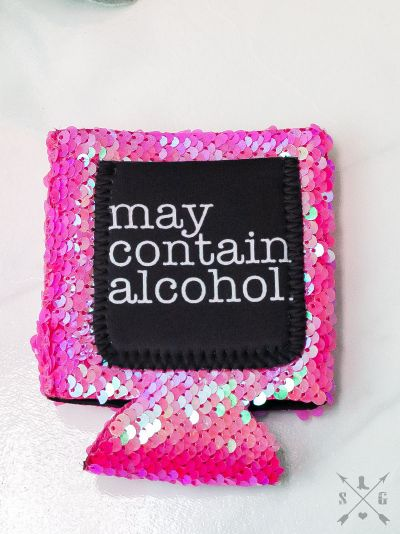 May Contain Alcohol PINK SEQUINS Can Cooler