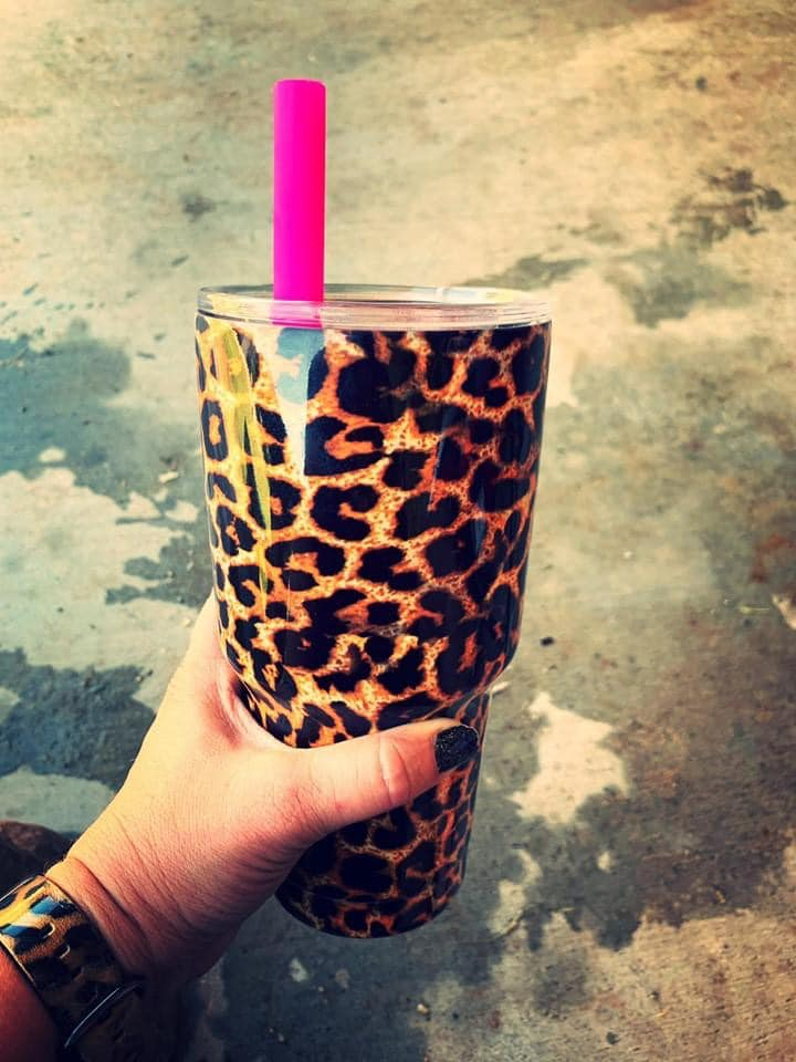 Drink On The WILD Side {LEOPARD} 30 Oz. Tumbler Cup