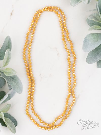 "•GOLDEN MUSTARD• Double Wrap Beaded 60"" Necklace"