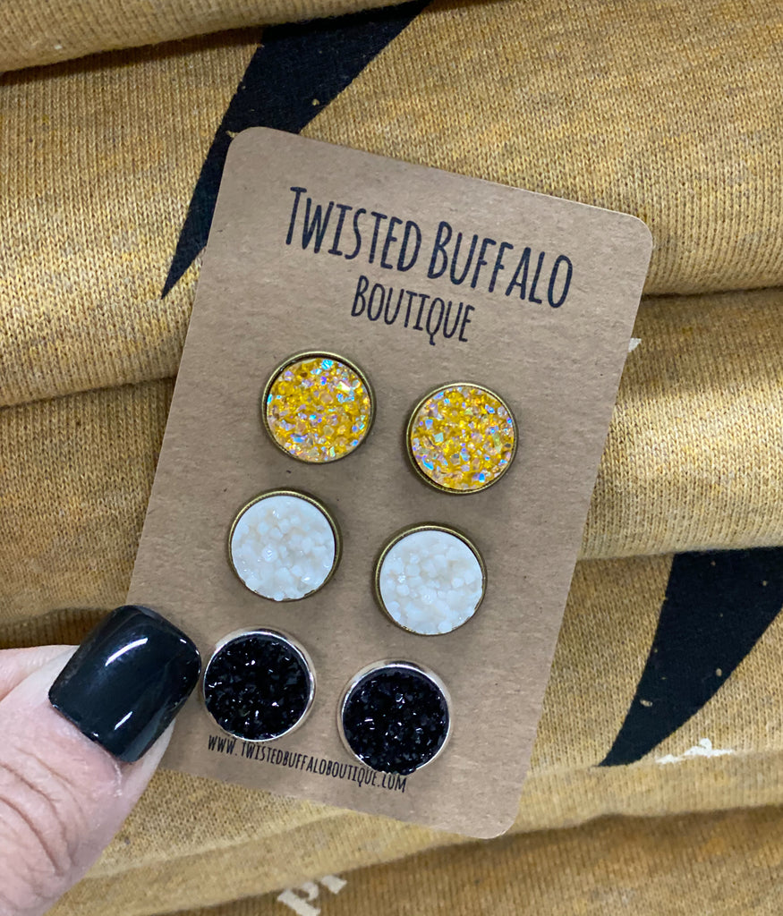 Yellow Jasper Collection {ROUND} Druzy 12mm Earrings Set