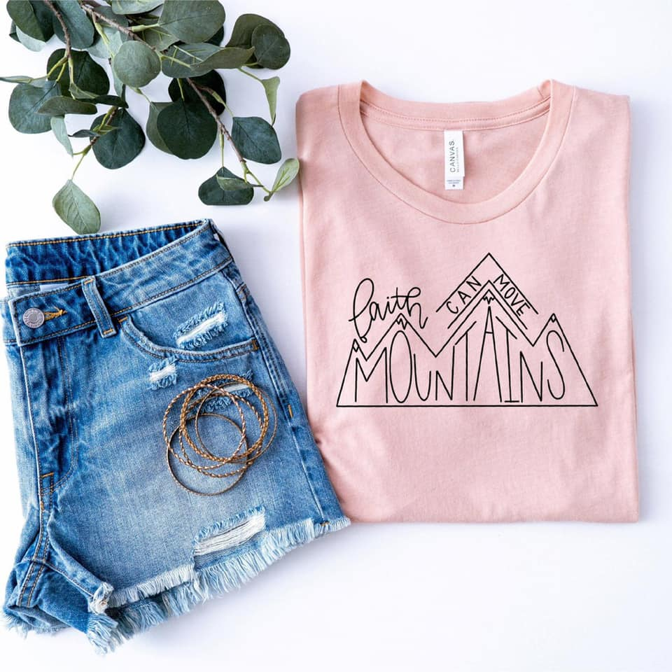 {FAITH CAN MOVE MOUNTAINS} Peach Crew Neck Tee