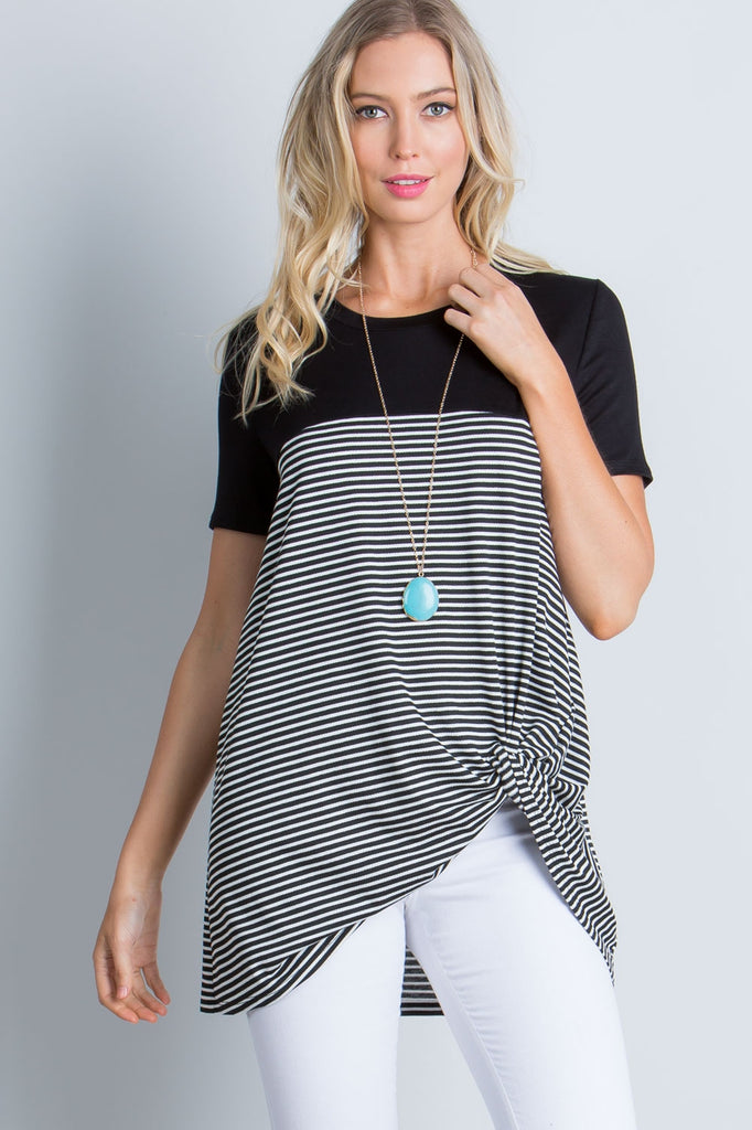 """Harlow"" Black & White Stripe Contrast Knotted Top"