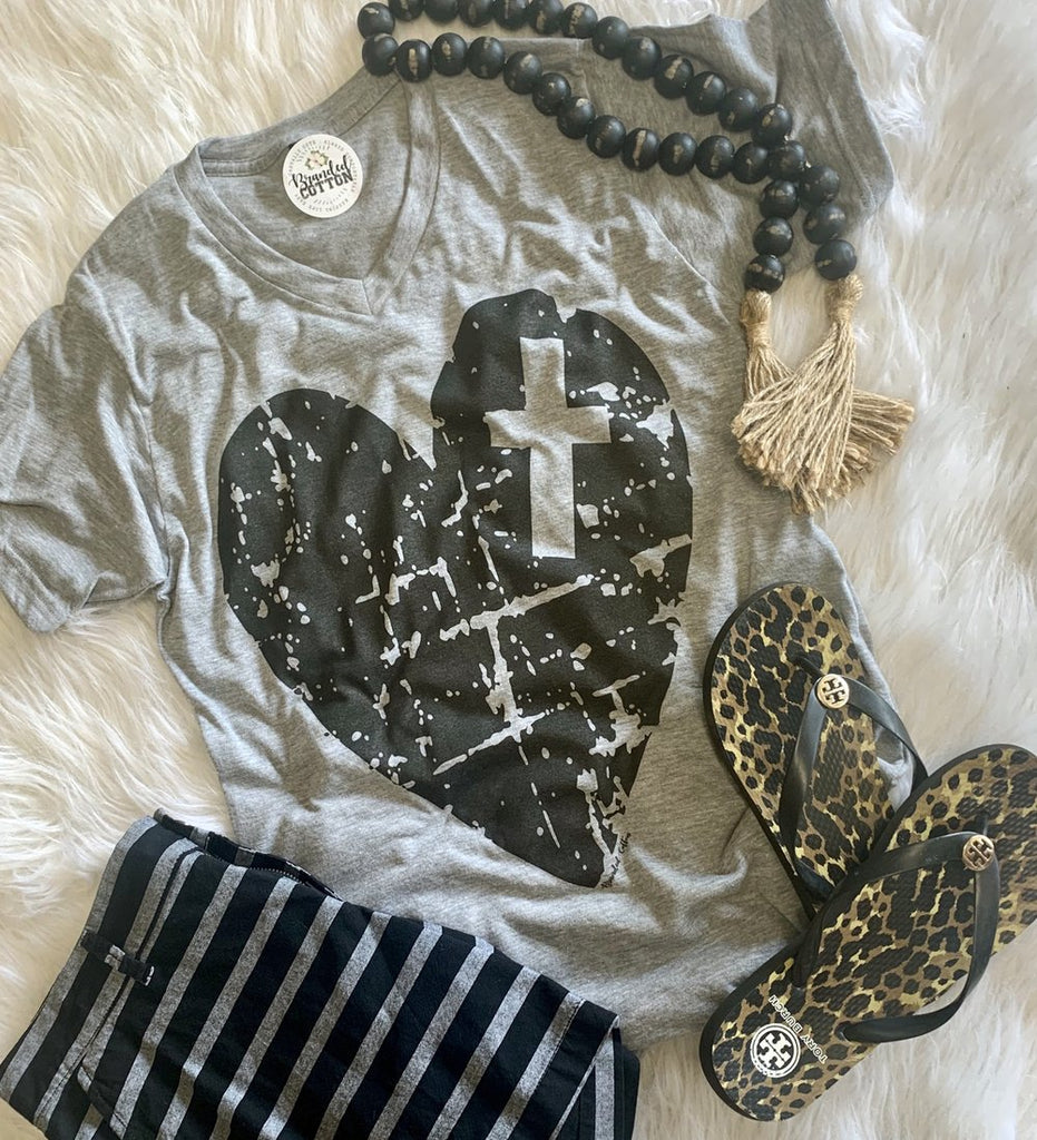 Gray {I CROSS MY HEART} Distressed Heart V-Neck Tee