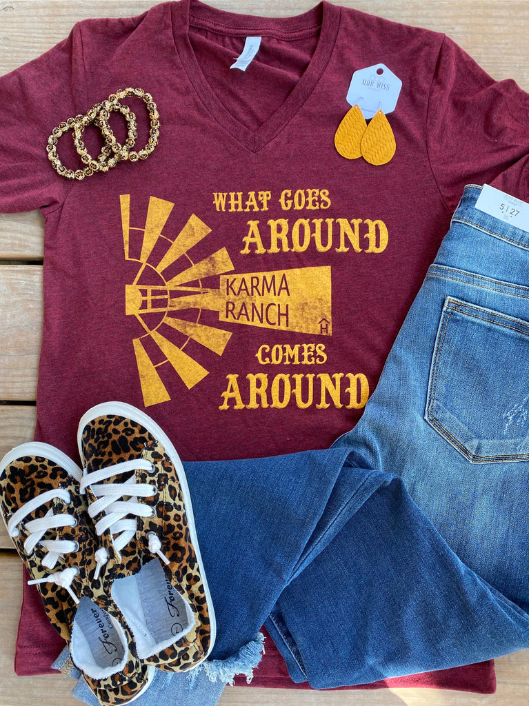 {KARMA RANCH} Mustard Windmill Cardinal V-Neck Tee