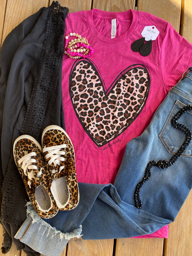 {LOVE YOU BERRY MUCH} Leopard Heart Raspberry Crew Neck Tee