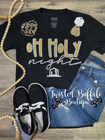 {OH HOLY NIGHT} Nativity Gold Glitter Black V-Neck Tee