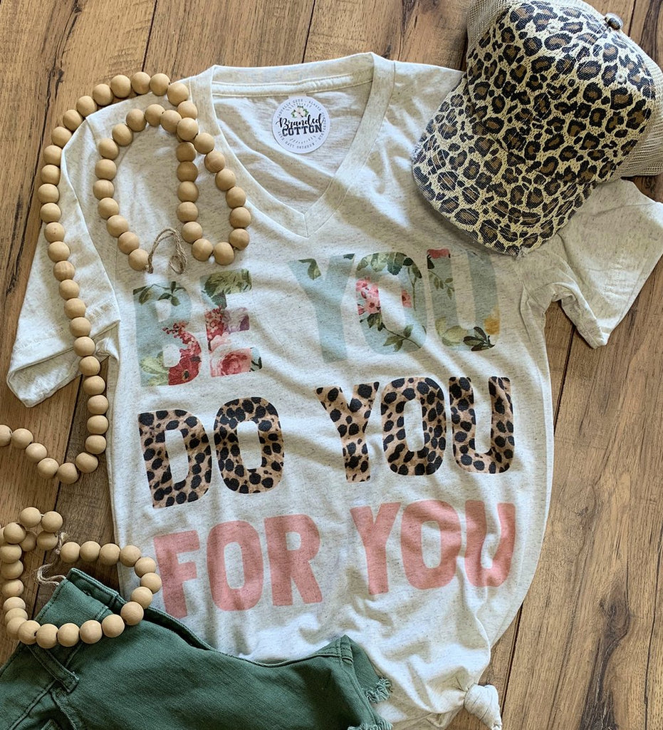 {BE YOU... DO YOU... FOR YOU} Leopard + Floral Oatmeal V-Neck Tee