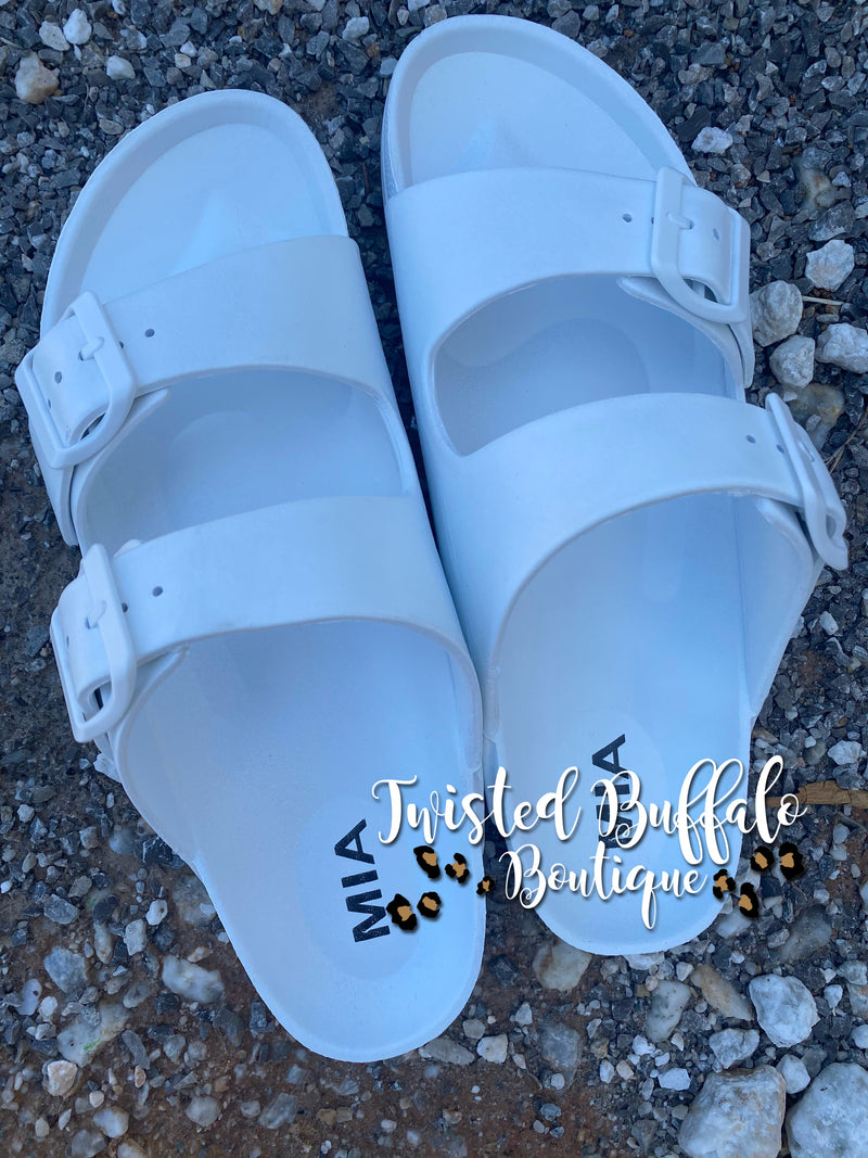 {BRIGHT WHITE} Classic White Double Buckle Slide Sandals