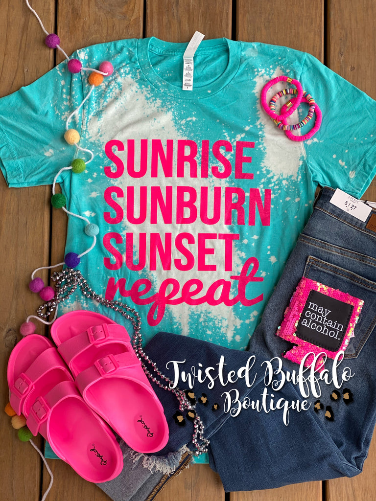 {SUNRISE SUNBURN SUNSET REPEAT} Distressed Heather Sea Green Crew Neck Tee