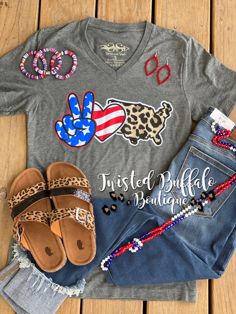 {PEACE LOVE AMERICA} Patriotic + Leopard Gray V-Neck Tee
