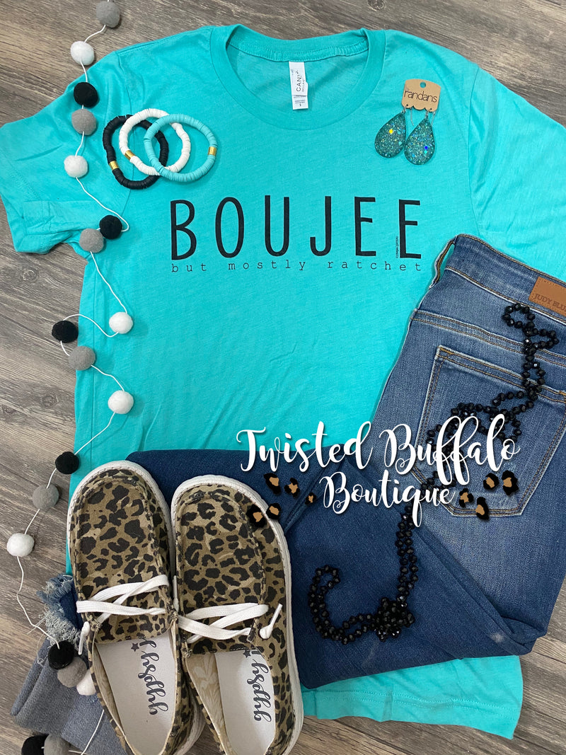 {BOUJEE... BUT MOSTLY RATCHET} Sea Green Crew Neck Tee