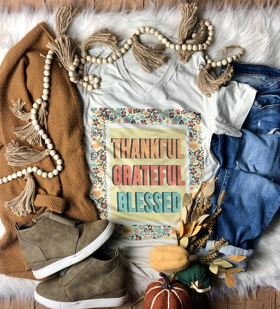 {BOXED} Thankful Grateful Blessed Scattered Cement V-Neck Tee