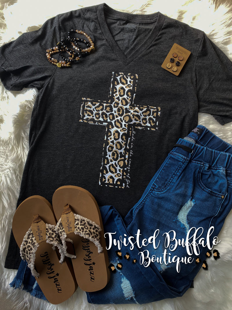 {MADE IN THE IMAGE OF GOD} Leopard Cross Char-Black V-Neck Tee