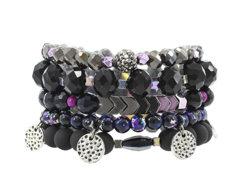 {ELECTRIC} Erimish {Purple, Blue + Black} Stack {Set of 5 Bracelets}