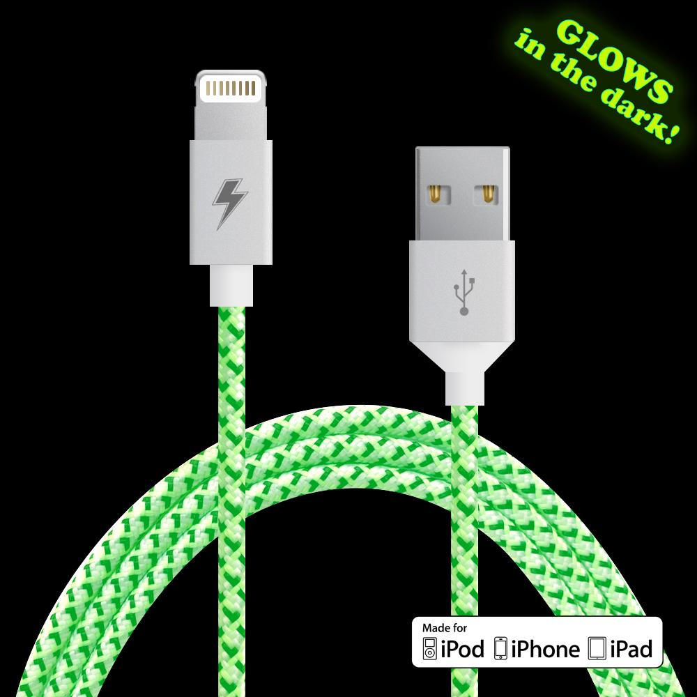 {GLOW BLACK + WHITE} Lightning Cable [5 ft / 1.5m length]