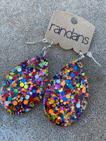 """Over the Rainbow"" Multi-Colored Glitter Handcrafted Resin Earrings"
