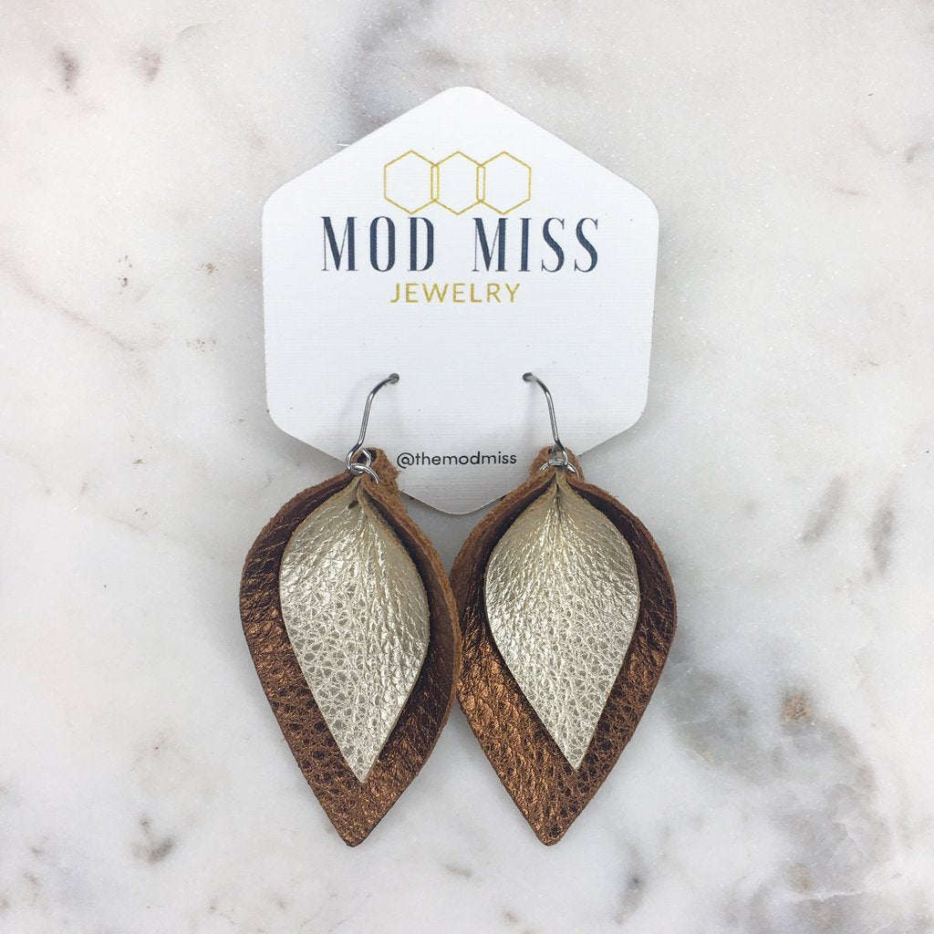 """Lou"" Metallic Brown + Metallic Pearl Double Stacked Petal Earrings"