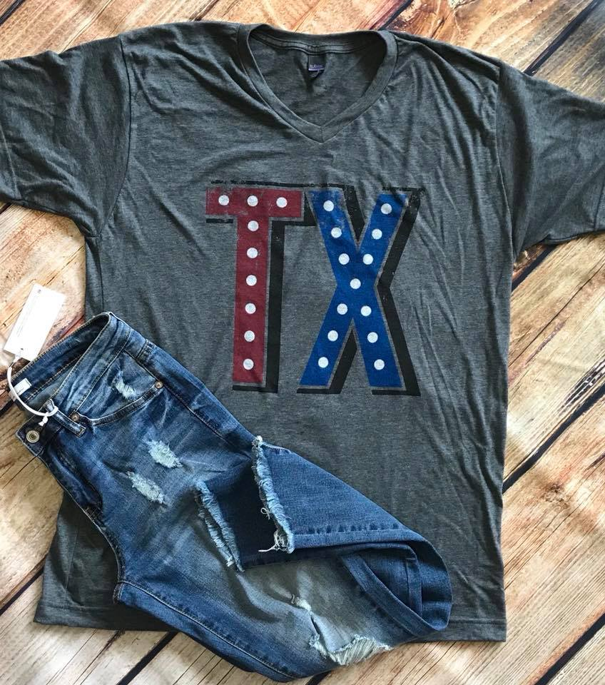TX Red, White & Blue Marquee Heather Charcoal V-Neck Tee