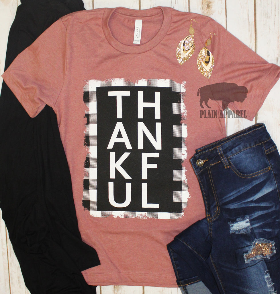 Mauve {THANKFUL PLAID BOX} Slub Crew Neck Tee