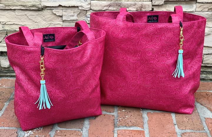 {MJ DREAM} Pink Tooled Make Up Junkie Tote Bag (Two Sizes)