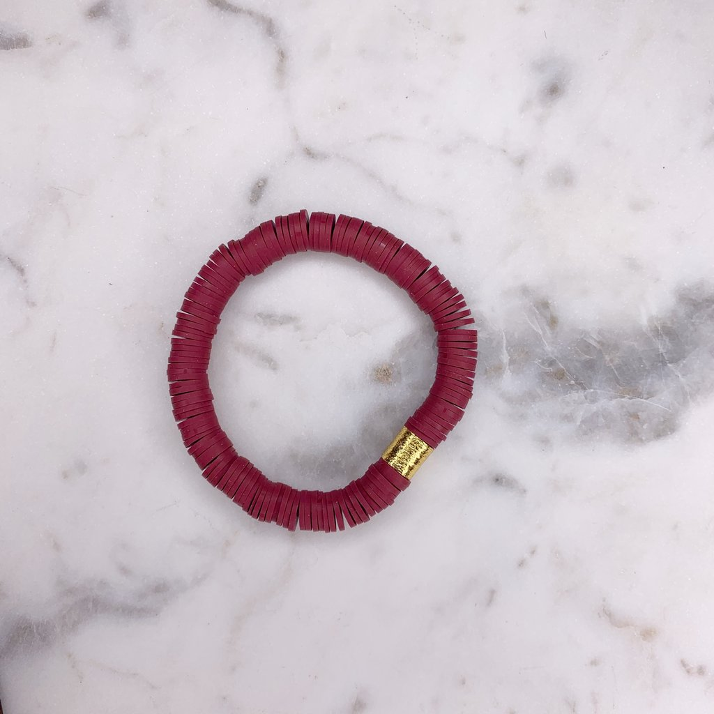 Maroon {COLOR POP} Heishi Beads Bracelet