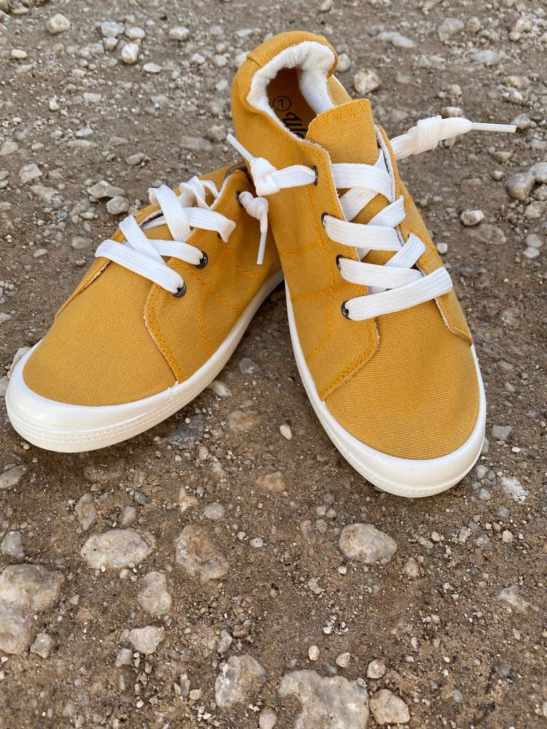 {MIRANDA} Mustard Yellow Slip On Sneakers