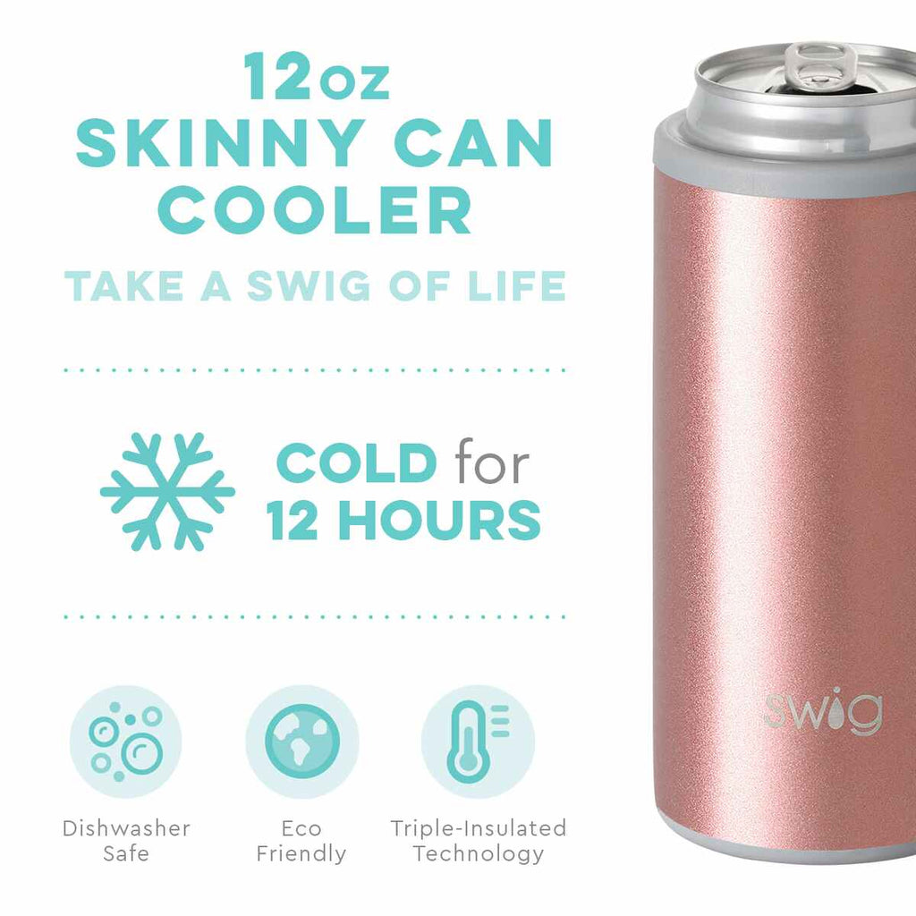 SWIG {SHIMMER ROSE GOLD} Skinny Insulated Stainless Steel Can Cooler (12 oz.)