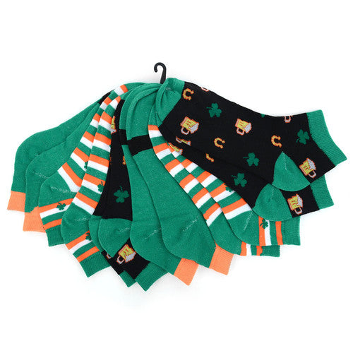 6 Pack - St. Patrick's Day Socks Assorted Colors