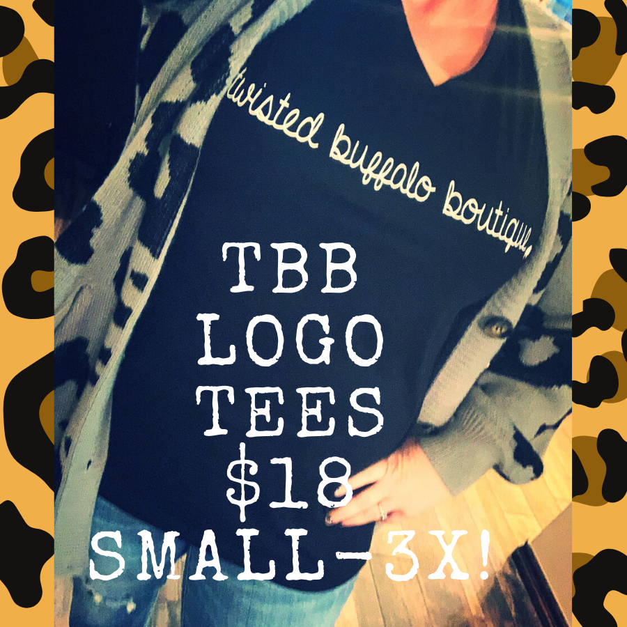 #SHOPSMALL Twisted Buffalo Boutique Black V-Neck LOGO Tee