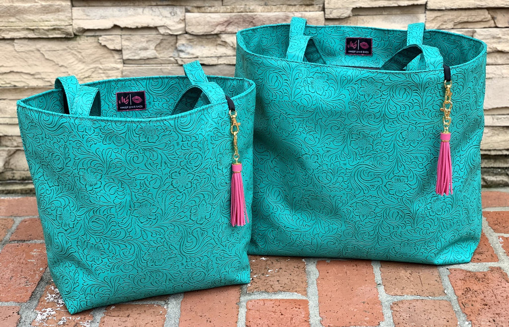 {TURQUOISE DREAM} Turquoise Tooled Make Up Junkie Tote Bag (Two Sizes)