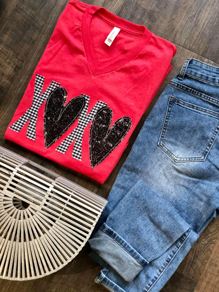 {XOXO} Appliqued Black + White Plaid + Black Sequins Heather Red V-Neck Tee