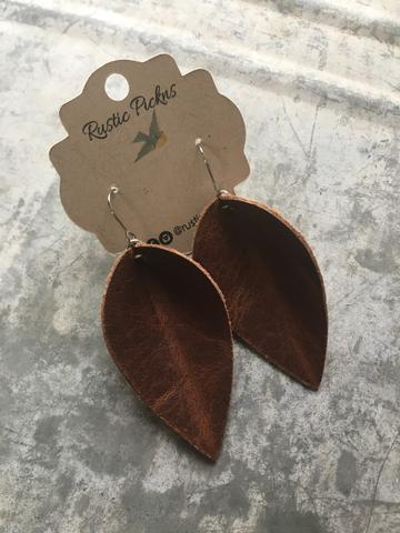 """Jo"" Brandy Aged Brown Leather Petal Earrings"