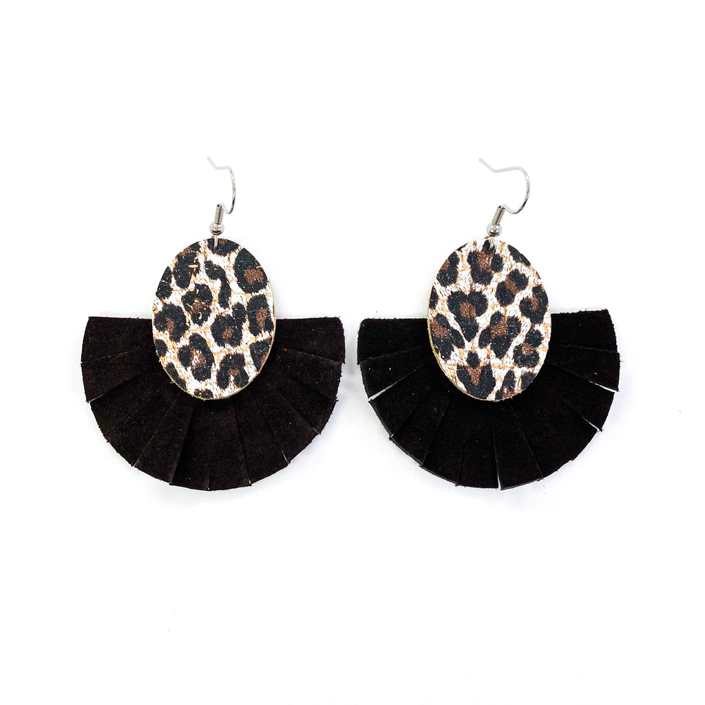 """Audrey"" Baby Chocolate Leopard and Black Fringe Earrings"