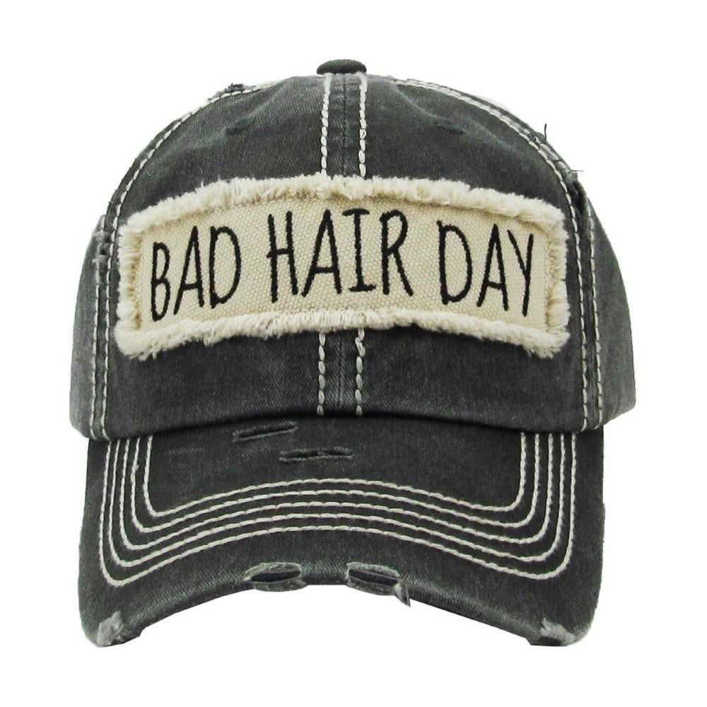 Bad Hair Day Black Distressed Trucker Cap Hat