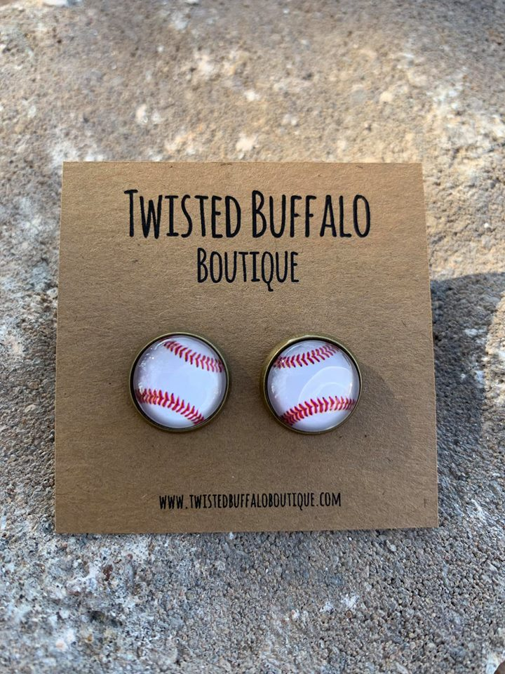 {BASEBALL} Round 12mm Earrings
