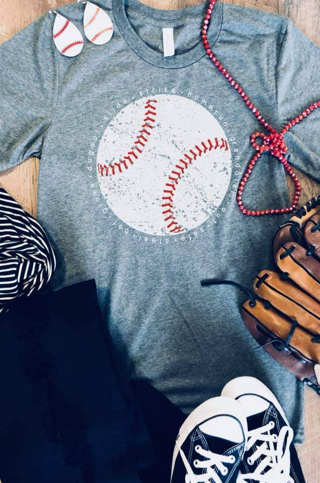 Baseball {PLAY BALL} Gray V-Neck Tee
