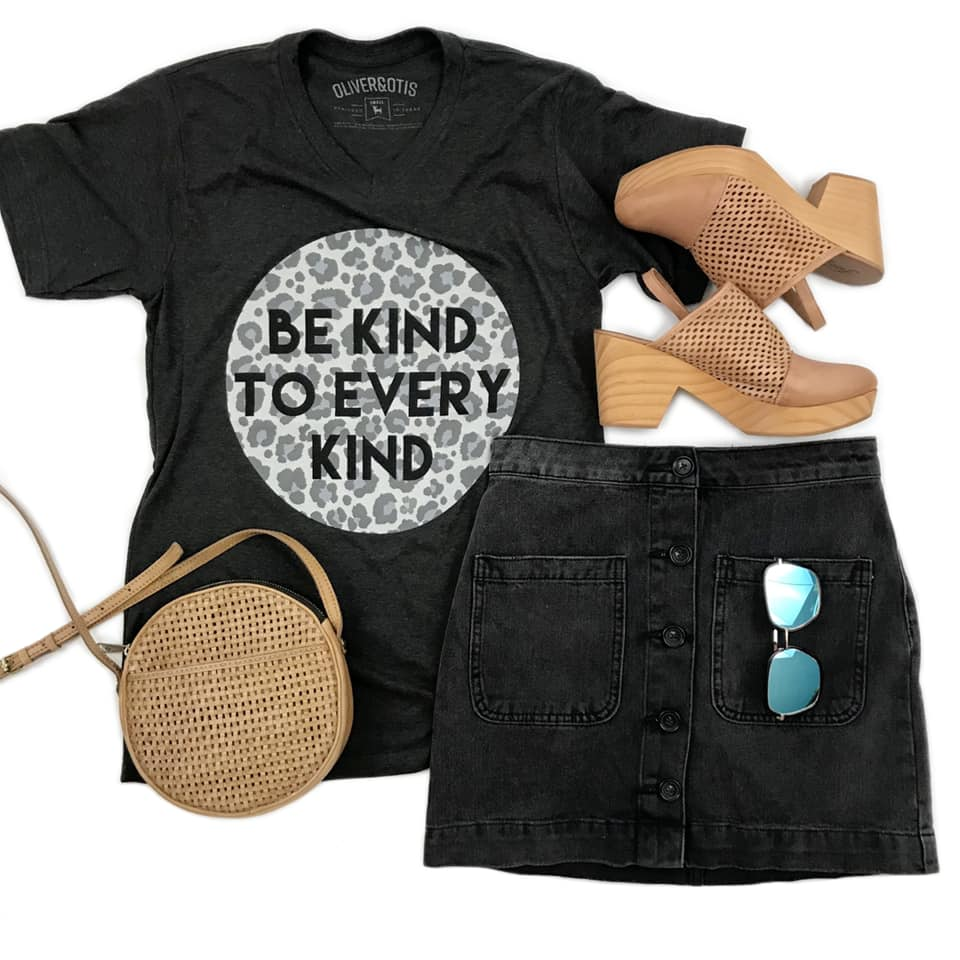{BE KIND TO EVERY KIND} Grayscale LEOPARD Graphite Black V-Neck Tee