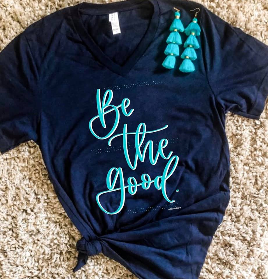 {BE THE GOOD} Turquoise + Navy V-Neck Tee